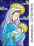 illustration in stained glass... | Shutterstock .eps vector #1175175676