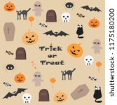 vector set with halloween... | Shutterstock .eps vector #1175180200