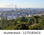 Small photo of AUCKLAND, NEW ZEALAND -5 AUG 2018- View of downtown Auckland seen from the summit of the Mt Eden crater (Maungawhau) in Auckland, New Zealand.