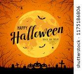 happy halloween message yellow... | Shutterstock .eps vector #1175186806