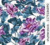 purple poppy seamless vector... | Shutterstock .eps vector #1175186890