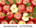 Group Of Red Apples With Their...
