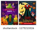 happy halloween greeting banner ... | Shutterstock .eps vector #1175213326