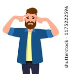 young man touching his head... | Shutterstock .eps vector #1175222596