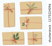 christmas gifts with red bows... | Shutterstock .eps vector #1175224096