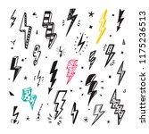 lightning bolts vector set.... | Shutterstock .eps vector #1175236513
