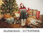 Stock photo happy girl in santa hat shopping online on laptop and sitting with cute dog at golden beautiful 1175245606