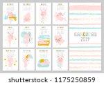 monthly creative calendar 2019... | Shutterstock .eps vector #1175250859