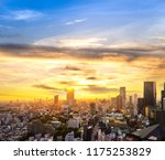 cityscape of tokyo city sunset... | Shutterstock . vector #1175253829
