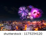 firework celebration in bangkok ... | Shutterstock . vector #1175254120