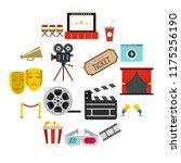 flat cinema icons set....
