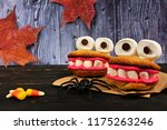 Two halloween monster cookie...