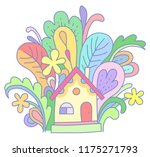 a tiny yellow house in... | Shutterstock .eps vector #1175271793
