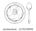 sketch with bowls of soup...   Shutterstock .eps vector #1175278990