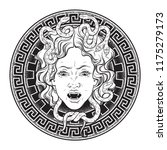 medusa gorgon head on a shield... | Shutterstock .eps vector #1175279173