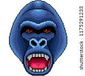pixel angry gorilla portrait... | Shutterstock .eps vector #1175291233