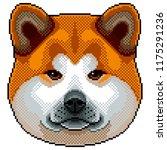 pixel akita inu dog portrait... | Shutterstock .eps vector #1175291236