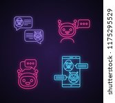 chatbots neon light icons set....   Shutterstock .eps vector #1175295529