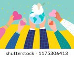 hands holding a heart and earth ... | Shutterstock .eps vector #1175306413