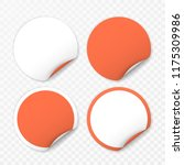 blank round sticker with curled ... | Shutterstock .eps vector #1175309986