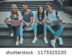 group of young people are... | Shutterstock . vector #1175325220