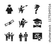 graduate icon. 9 graduate...   Shutterstock .eps vector #1175349316