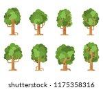 set of cartoon trees. flat... | Shutterstock .eps vector #1175358316