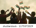 crowd with indian flags.... | Shutterstock . vector #1175372029