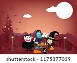 halloween party  vampire ... | Shutterstock .eps vector #1175377039