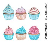 watercolor cupcakes with white... | Shutterstock . vector #1175388850