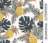 tropical yellow pineapples ... | Shutterstock .eps vector #1175393959