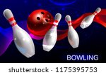 bowling. skittles and a ball.... | Shutterstock .eps vector #1175395753