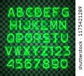 glowing green neon alphabet... | Shutterstock .eps vector #1175421289