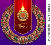 happy diwali festival card with ... | Shutterstock .eps vector #1175438656