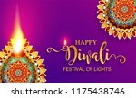 happy diwali festival card with ... | Shutterstock .eps vector #1175438746