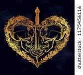 beautiful romantic skulls with... | Shutterstock .eps vector #1175456116