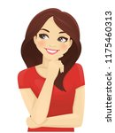 cute thinking woman looking... | Shutterstock .eps vector #1175460313