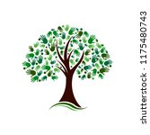 tree with hands social network...   Shutterstock .eps vector #1175480743