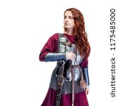 girl warrior in chain mail and... | Shutterstock . vector #1175485000