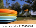 stacked disc golf discs with... | Shutterstock . vector #1175488609