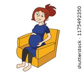 pregnant woman sitting on a... | Shutterstock .eps vector #1175492350