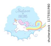 a white unicorn with a pink... | Shutterstock .eps vector #1175501980
