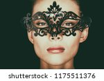 mask woman wearing black hiding ...   Shutterstock . vector #1175511376