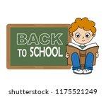 boy reading a book next to a... | Shutterstock .eps vector #1175521249