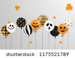 happy halloween. scary air... | Shutterstock .eps vector #1175521789