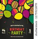 birthday party invitation card... | Shutterstock .eps vector #1175521870