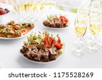 rye bread sandwiches  canapes ... | Shutterstock . vector #1175528269