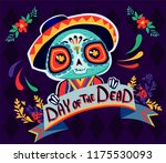 postcard on the day of the dead ... | Shutterstock .eps vector #1175530093