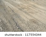 abstract background showing some skidmarks in brown earth - stock photo