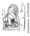 sculpture of a lion with a... | Shutterstock .eps vector #1175545630